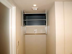 洗濯機置き場 After 洗濯機上吊戸網棚